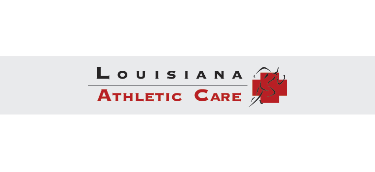 Logo: Louisiana Athletic Care. Creating medical partnerships that deliver superior healthcare to athletes. 337-367-3331.